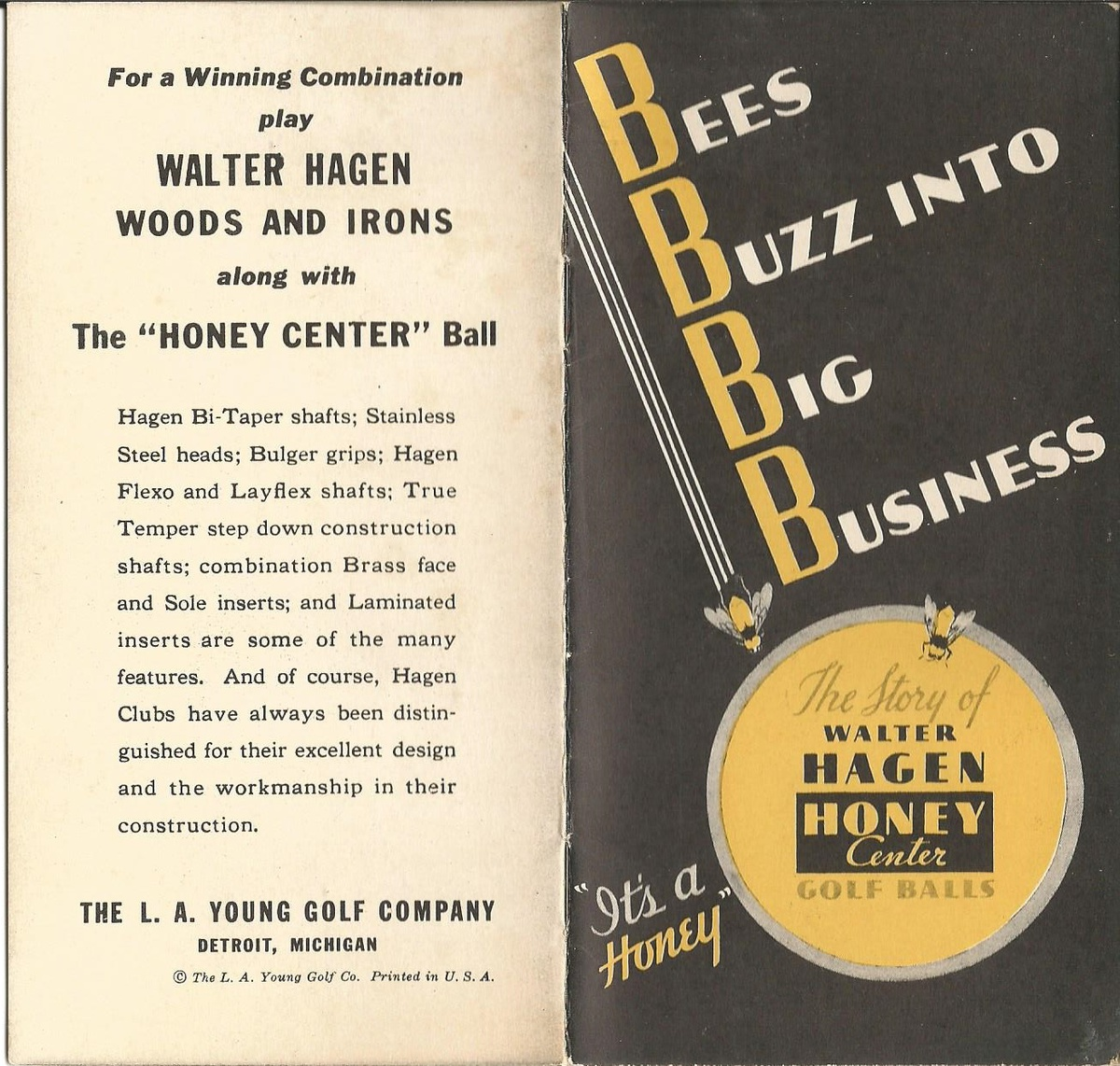Walter Hagan Honey Center Werbung von 1934