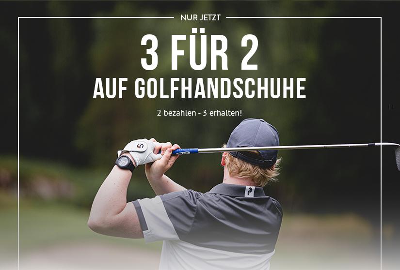 3 für 2 auf Golfhandschuhe. 2 bezahlen - 3 erhalten!