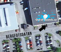 Karta till Out of Bounds Bergfotsgatan