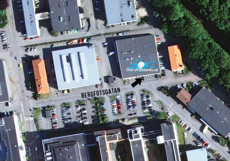 Karta till Out of Bounds Bergfotsgatan